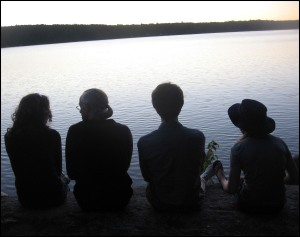 People looking at lake