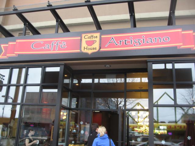 Person going into coffee house