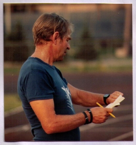 George at track with notebook