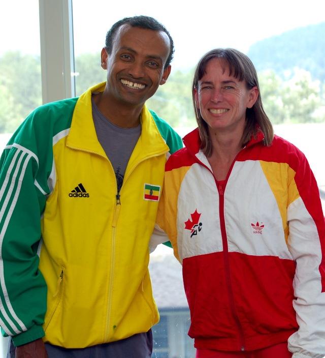 Joseph Kibur and Nancy Tinari in national tracksuits