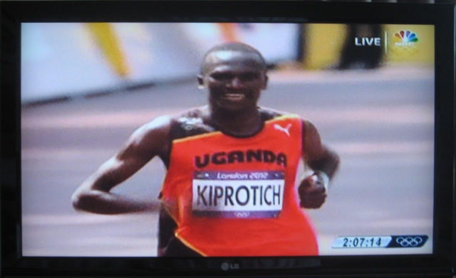 Stephen Kiprotich near end of Olympic Marathon