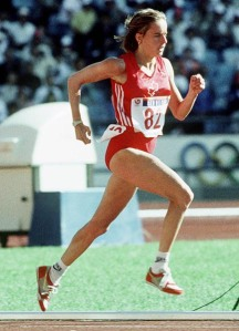 Nancy Tinari running in 1988 Olympics