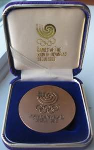 A participants' medal from the 1988 Olympics