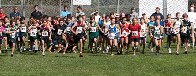 Kids starting a cross-country race
