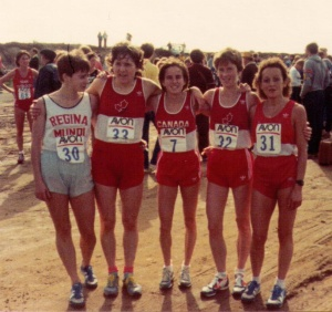 Lizanne Bussieres (from Montreal but not running as part of the Canadian team), Silvia Ruegger, me, Anne Marie Malone and Jacqueline Gareau at the World 10K Road Race Championship, 1983.