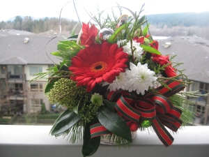 A Christmas bouquet on a balcony