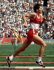 Silvia Ruegger competing in the 1984 Olympic marathon. Photo copyright CP/COA, used with permission of Library and Archives Canada at www.collectionscanada.gc.ca .