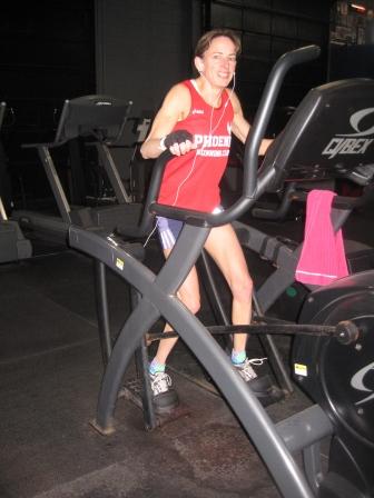 Nancy on an Arc trainer machine.