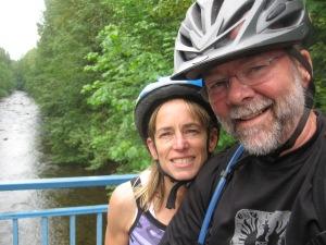 Keith and Nancy posing with bike helmets