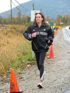 jogging during the Haney to Harrison relay.