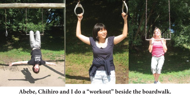 Abebe, Chihiro and Nancy doing gymnastics at the boardwalk.