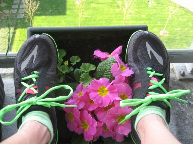 running shoes and flowers