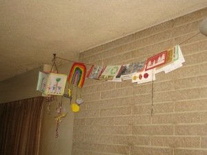 Christmas cards over fireplace.