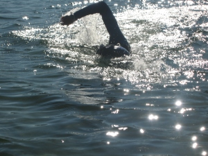 swimming in Sasamat Lake