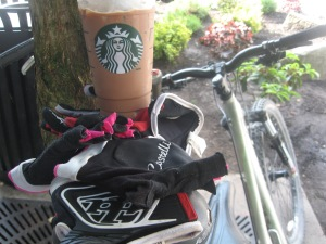 Starbucks iced mocha and cycling gloves