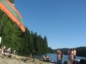People relax in many ways at Sasamat Lake!