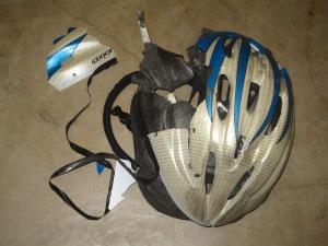 A crushed bike helmet