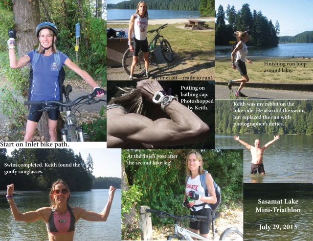 Collage of photos showing a Sasamat Lake triathlon.