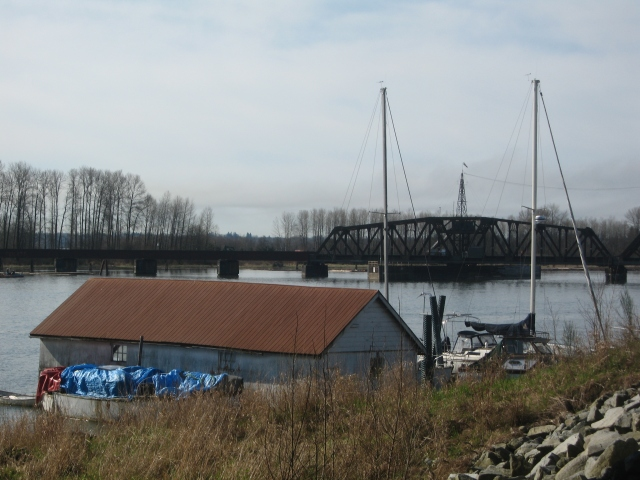 Boat homes on the Pitt River.