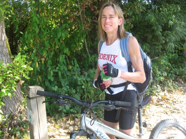 Nancy at end of Sasamat Lake triathlon.