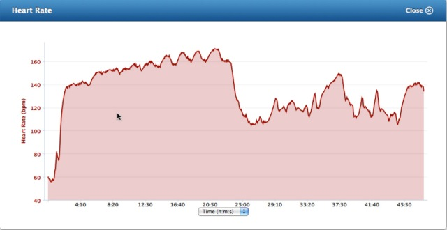 heart rate graph during a gym workout with Arc trainer, rowing machine and weights