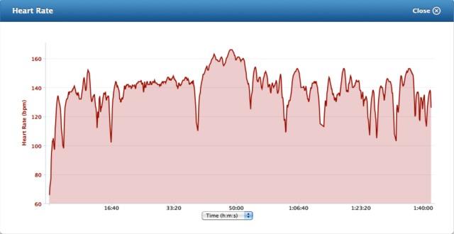 heart rate graph from a long intense bike ride