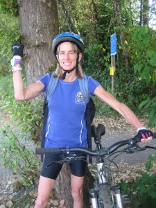 Nancy at the start of a personal mini-triathlon.