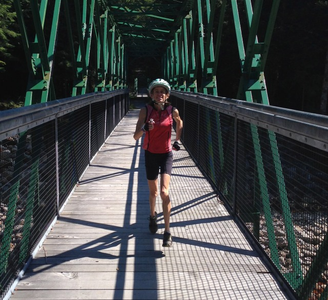 Nancy running on bridge near fish hatchery