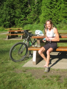 Nancy after running at Sasamat Lake