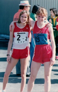 Nancy and Canadian teammate at 1986 Ekiden relay.