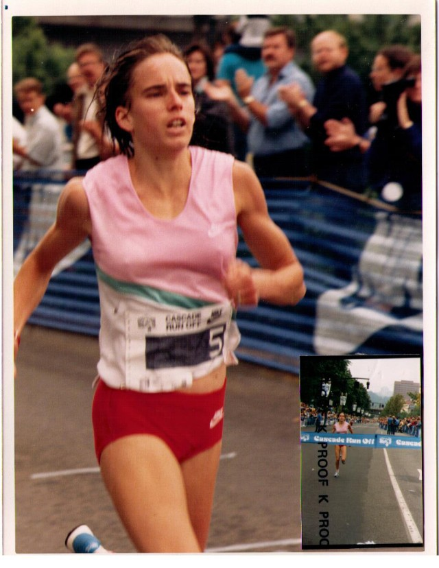 Nancy winning Cascade Run Off, 1987