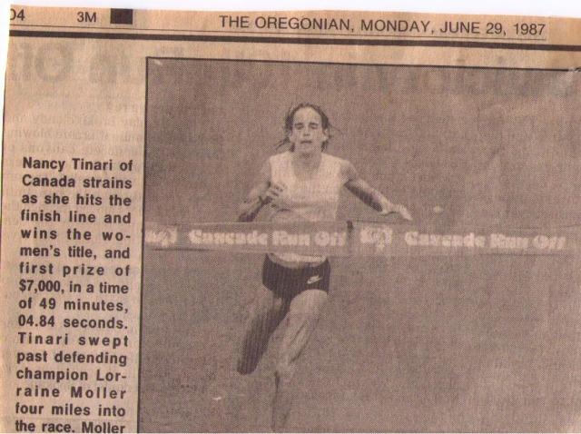 Nancy winning Cascade Run Off 15K, 1987