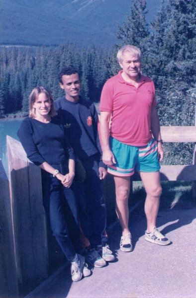 Nancy, Joseph Kibur, and George Gluppe in 1990.