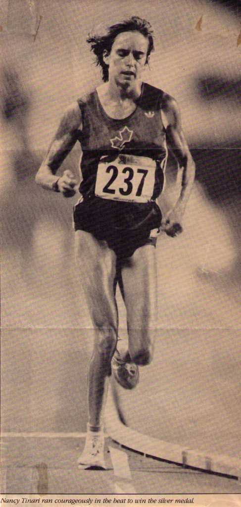 Nancy running 10,000m at 1987 Pam Am Games.