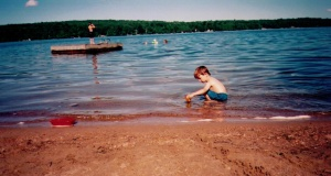 kids playing in a lake in Ontario