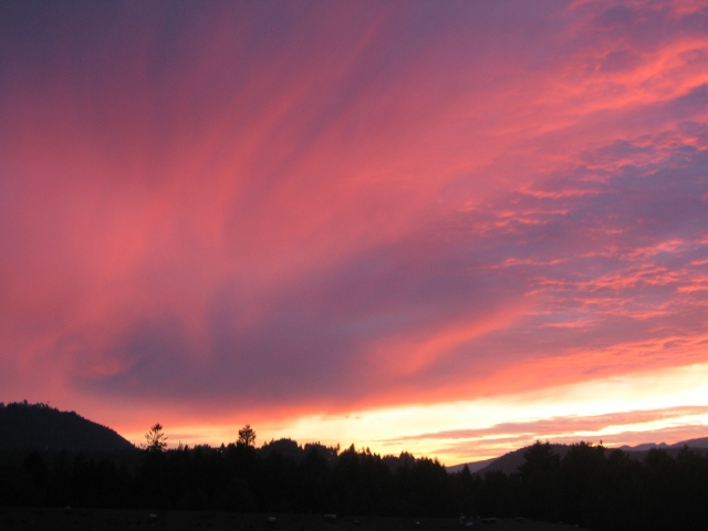 sunset over Burnaby Mountain.