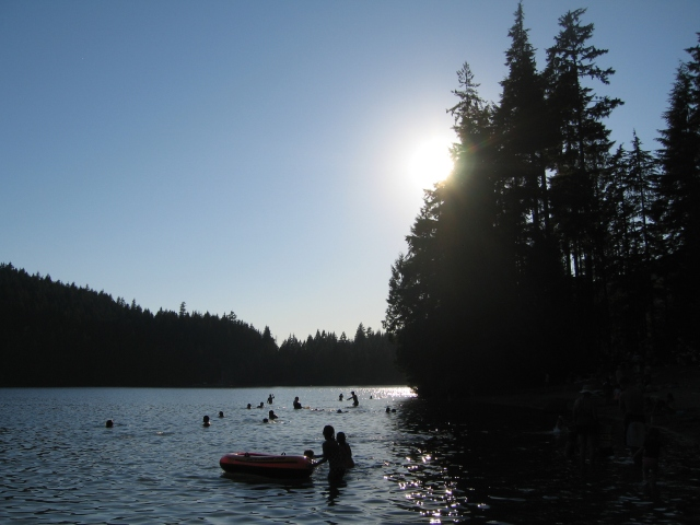 Sasamat Lake/White Pine Beach--looking northwest from the south beach.