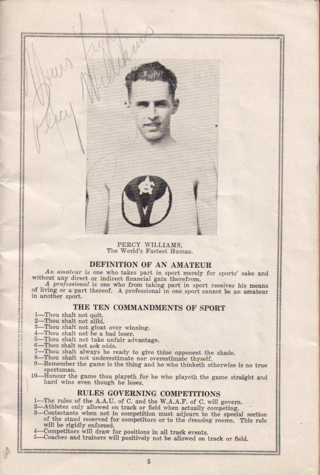 Percy Williams' autograph on Indoor Championships program